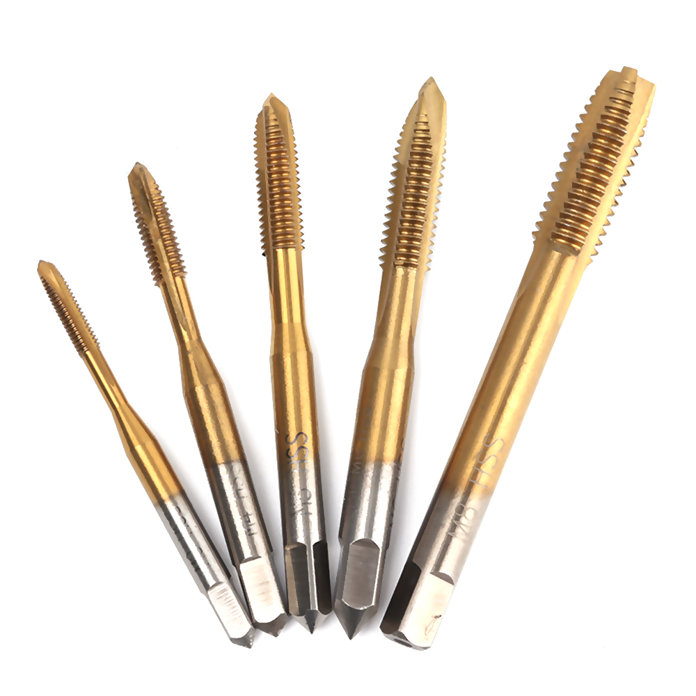 Universal 3mm-8mm Hss Titanium Hand Tap Tapping Screw Thread Metric Plugs Taps Set M3 M4 M5 M6 M8 Straight Flute