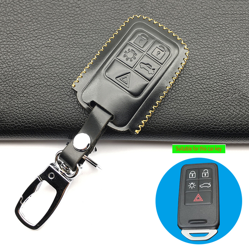 Leather Key case for VOLVO C30 C70 S40 S80 V50 V60 V90 V70 XC70 key Black Color