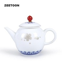210ml Boutique Blue and White Porcelain Silver Painted Cherry Ceramic Teapot Chinese Vintage Kung Fu Tea Set Tea Pot Tea Maker