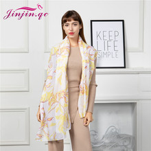 Jinjin.QC New Women Ladies flower Preview Stylish Long Soft Silk Chiffon Scarf Wrap Shawl Scarves Comfortable Hot Item