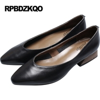 Size 4 34 Discount Chunky Pointed Toe Shoes Leather Pumps Low Heels 2017 High Retro Black