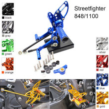CNC Aluminum Adjustable Rearsets Foot Pegs For Ducati 848 Streetfighter 1100