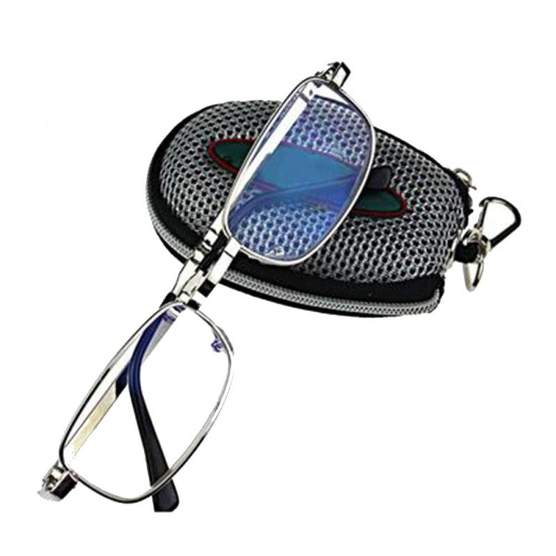 2019 Unisex Presbyopic Glasses Portable Silver Folding Reading glasses Black Case with Belt Clip 1 5 4 0 in Men 39 s Reading Glasses from Apparel Accessories