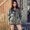 Новая Мода 2017 Корейский Весна Женщины Вышивка BF Пальто Длинный рукавом Женская заклепки Пальто Черный Army Green Пиджаки B171