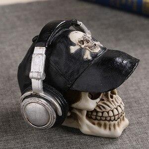 Image 2 - MRZOOT estatuas artesanales de resina para decoración, calavera con auriculares, decoración de barras de música, Calavera creativa