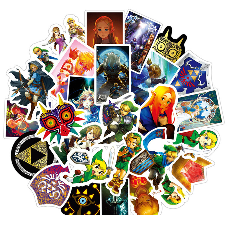 50pcs/set Game The Legend of Zelda Stickers Cosplay Prop Accessories PVC Cute Cartoon Decal Waterproof Luggage Sticker image