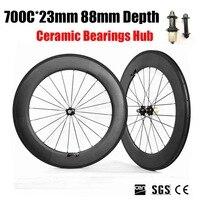 700C 88mm Depth 23mm Width Carbon Bike Wheels 3K Matte Clincher Tubular With Ceramic Bearings Hub