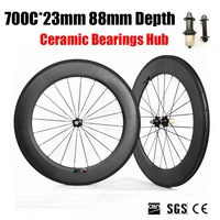 700C 88mm Depth 23mm Width Carbon Bike Wheels 3K Matte Clincher Tubular With Ceramic Bearings Hub
