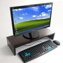 Soporte de Monitor de madera para escritorio soporte vertical, Base de teclado, estante de almacenamiento, estantería pequeña, tablero engrosado, soporte para ordenador portátil
