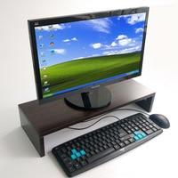 Wooden Desktop Monitor Stand Riser Holder Keyboard Base Storage Rack Small Bookshelf Thickened Board Laptop Stand Shelf