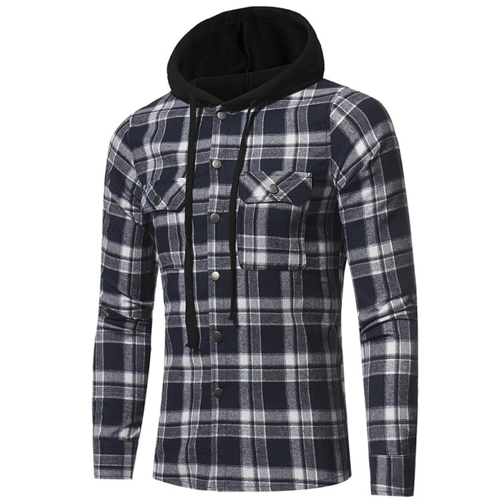 Lumberjack Check Jack Shirt Fashion Plaid Hooded Dual Pockets Long Sleeve Men's Casual Slim Fit Shirt Top