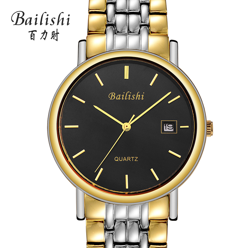 Bailishi Brand Waterproof Men Stainless Steel Quartz Watch Calendar Date Display Clock Male Wristwatch Relojes Hombre 1002G fashion black full steel men casual quartz watch men clock male military wristwatch gift relojes hombre crrju brand women watch