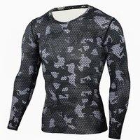 мужские сжатия базовый слои вес подъема фитнес тесная мма кроссфит топы рашгард футболка камуфляж одежда с длинным рукавом футболка с-XXXL осенняя