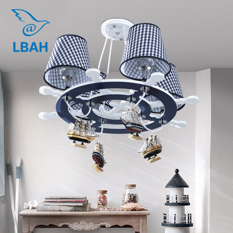 The new Mediterranean rudder LED droplight of children room The boy bedroom lamps shield an eye creative cartoon art creative cartoon baby cute led act the role ofing boy room bedroom chandeliers children room roof plane light absorption