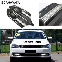ECAHAYAKU Туман лампа для Volkswagen VW Jetta Sagitar MK6 2012 2013 2014 Тюнинг автомобилей для вождения светодиодный DRL дневного света дневной