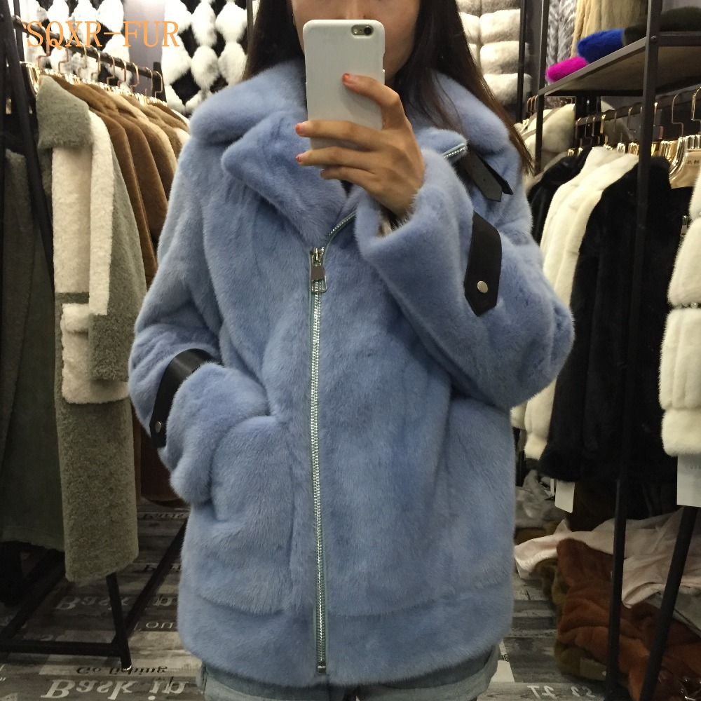 SQXR FUR Real Mink Fur Fashion Jacket  Women Real Mink Fur Coat Women  Natural Mink  Fur Hot Popular