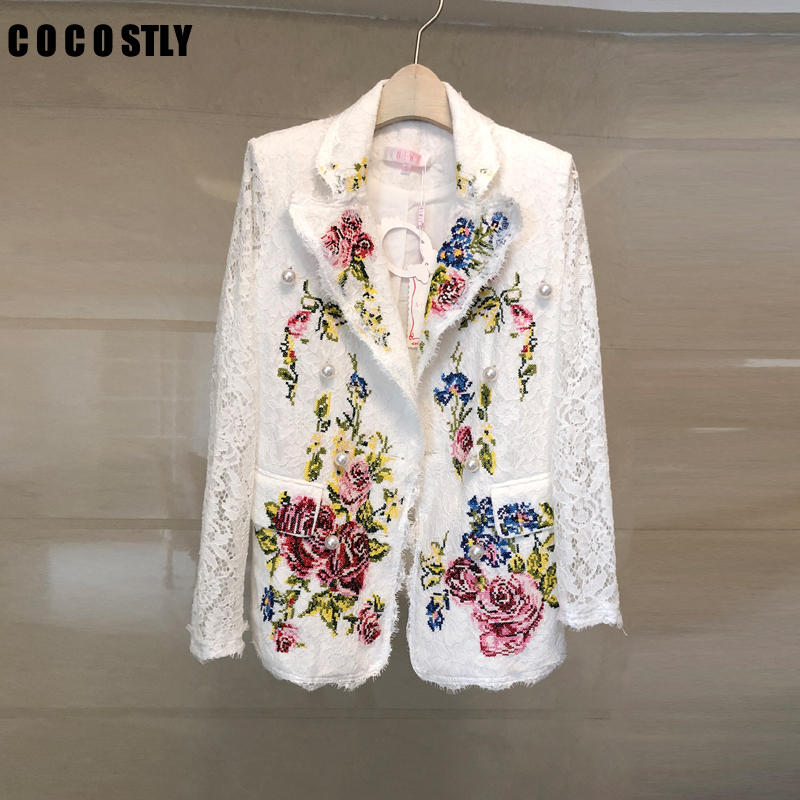 Spring Autumn Lace White Blazer Women Long Sleeve Notched Flower Embroidery Pearls Blazer Shawl Collar Pocket Floral Jacket Coat