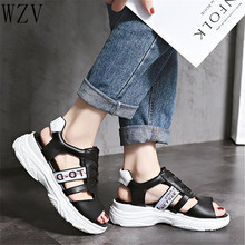Summer 2019 Women Platform Sandals Open Toe Wedge Thick Bottom Casual Shoes Woman Lace-Up Breathable Women Sandals Black E689