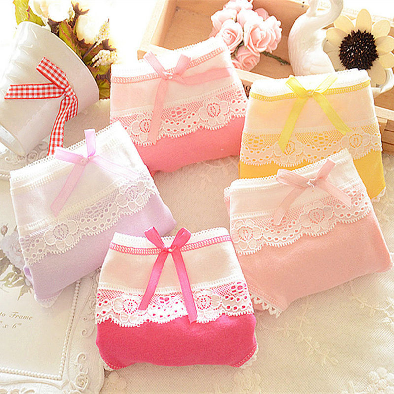 1 PC Candy Color Women Girls Cotton Soft Lace Bow-knot Underwear Briefs Knickers