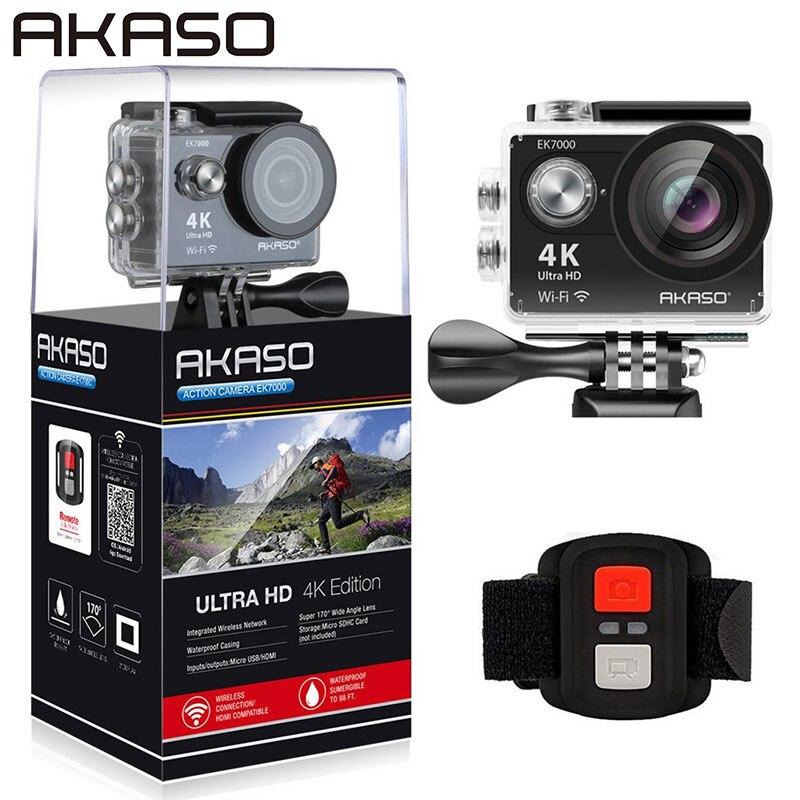 AKASO EK7000 4K WIFI Outdoor action camera Ultra HD Waterproof DV Camcorder 12MP 170 Degree Wide Angle Black ( 1 battery ) f88 action camera black