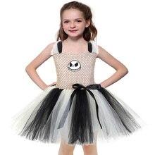 Kids Halloween Scary Devil Ghost Pattern Dress Skull Vintage Little Girls Dresses Age 10 Christmas Carnival Tutu Vestido