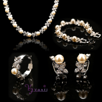 Wholesale Fashion Silver/Gold Color Necklace Earrings Bracelet Rings Crystal Imitation Pearl Wedding And Party Jewelry Sets