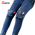 Girls Jeans 2017 New Fashion Cartoon Cat Baby Girls Pants Slim Skinny Kids Leggings Cotton Casual Children Girls Clothes 2507B