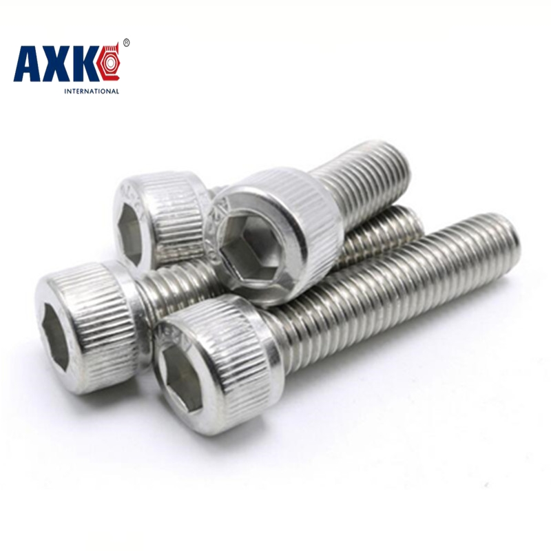 AXK DIN912 M6 Metric Thread 304 Stainless Steel Hex Socket Head Cap Screw Bolts M6*(6/8/10/12/14/16/18/20/22/25/30/35/40~150) mm 50pcs iso7380 m3 5 6 8 10 12 14 16 18 20 25 3mm stainless steel hexagon socket button head screw