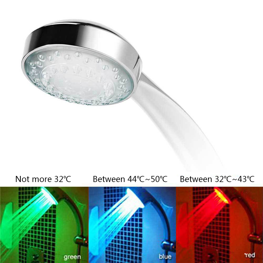 New bathroom products automatic luminous color LED 3 round shower caddy color handheld shower temperature sensor