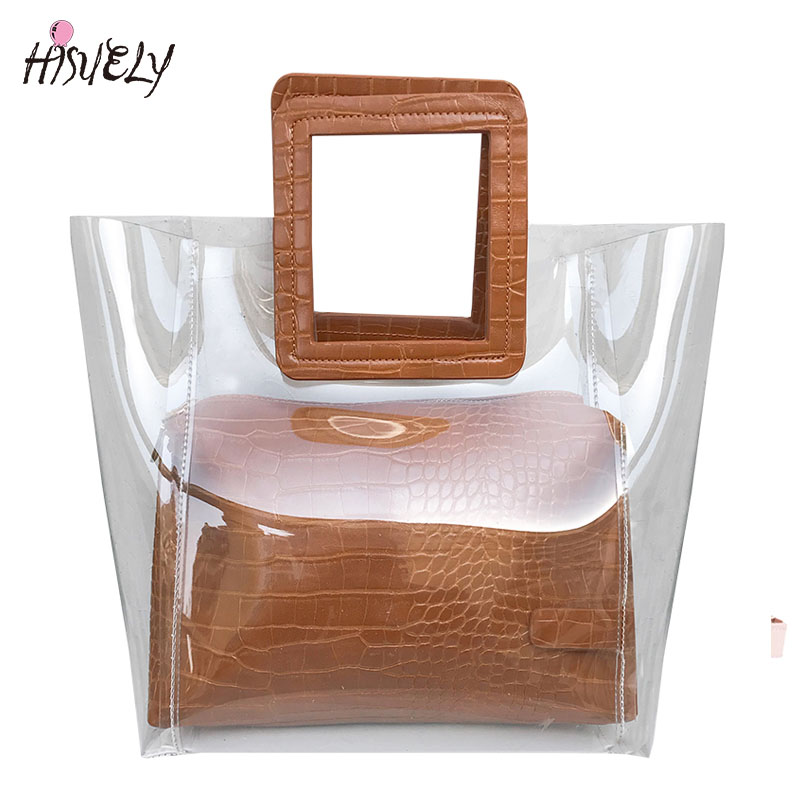 2018 New Fashion Women Transparent PVC Handbag Summer Sweet Lady Jelly Clear Plastic Beach Bag Candy Color Shoulder Bags Tote Ba