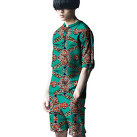 Personal Tailor African Male Fashion Printing Short Sleeve Tops And Short Pants Set Dashiki Clothes African