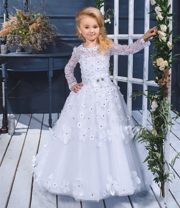 Princess Gown 2018 New Flower Girls Dresses For Weddings Long Sleeves Lace Appliqued Beads Communion Dress princess ball gown red lace flower girls dresses for weddings birthday communion kids stage performance