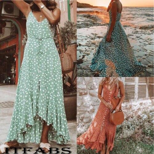 Long Dress Summer Womens Boho Maxi Dress Lady Evening Party Beach Dress Sundress Summer Dress Boho Style V-neck Sleeveless