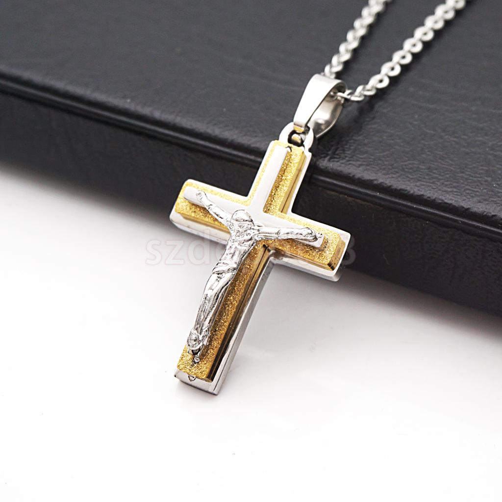 Fashion Stainless Steel Crucifix Jesus Cross Pendant Chain Necklace Silver#3