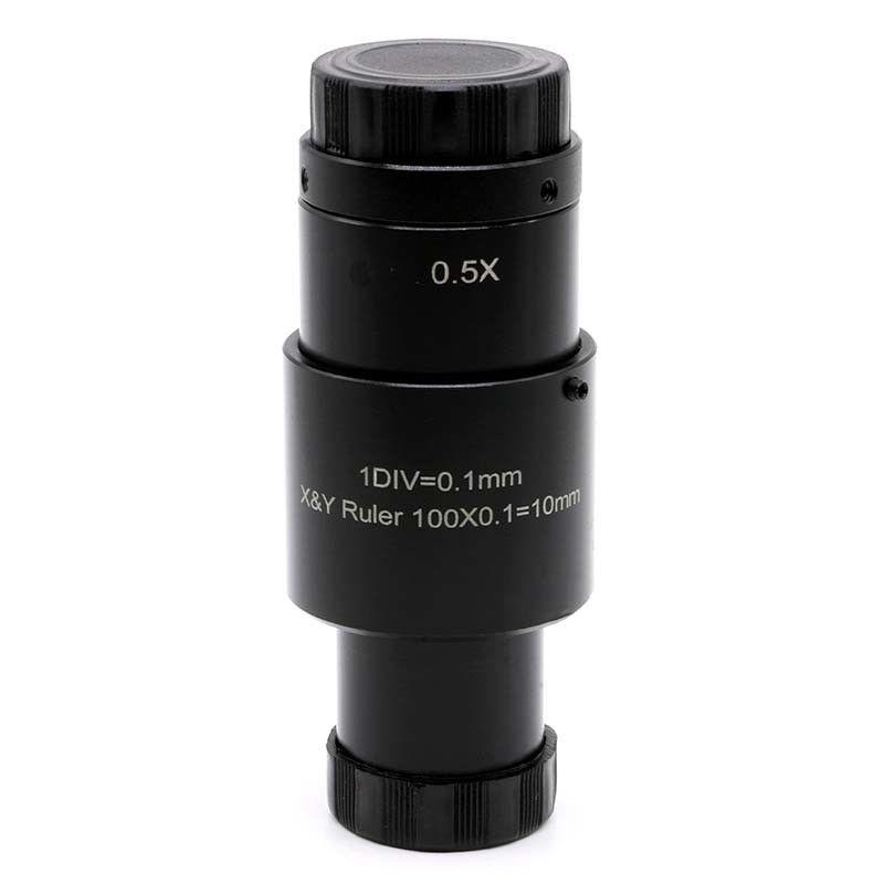 купить 0.5X Reduction Lens Microscope Eyepiece Adjustable 0.5X C-mount Lens 23.2mm with Cross Ruler 0.1mm Micrometer Reticle Scale по цене 4995.78 рублей