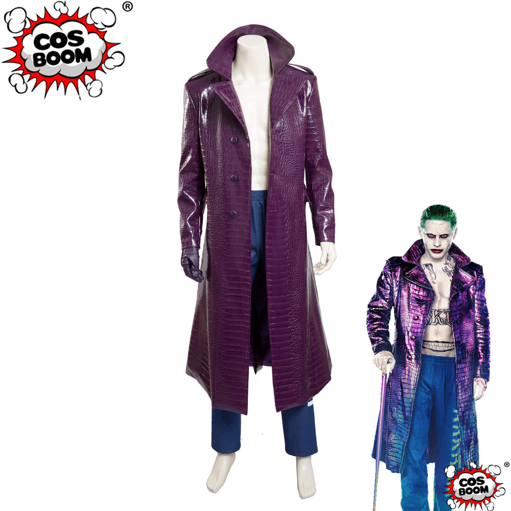 COSBOOM Movie Suicide Squad Costume Custom Made Men's Halloween Carnival Joker Jacket Suicide Squad Joker Cosplay Costume