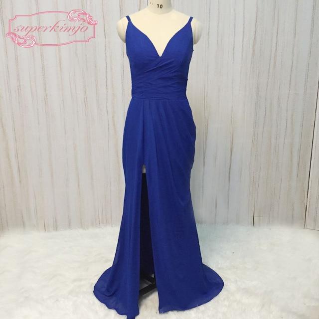Superkimjo Royal Blue Bridesmaid Dresses Pleats Deep V Neck Chiffon Side Long Maid Of