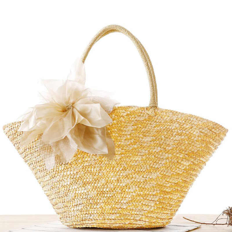 Atrra-Yo! Mulheres saco Trançado flores sacos de ombro das mulheres bolsa saco de praia bolsas 2019 sacos de Palha de Moda Bohemian LS8912
