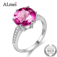 Almei Certified 4 2CT Natural Pink Topaz Ring Women Gemstone Rings With A Large Stone 925