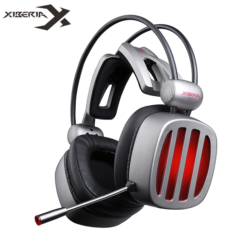 XIBERIA S21 Gaming Headset 7.1 Surround Sound Stereo Headphones with Microphone LED Light for Computer Gamer USB Game Headset xiberia k10 over ear gaming headset usb computer stereo heavy bass game headphones with microphone led light for pc gamer