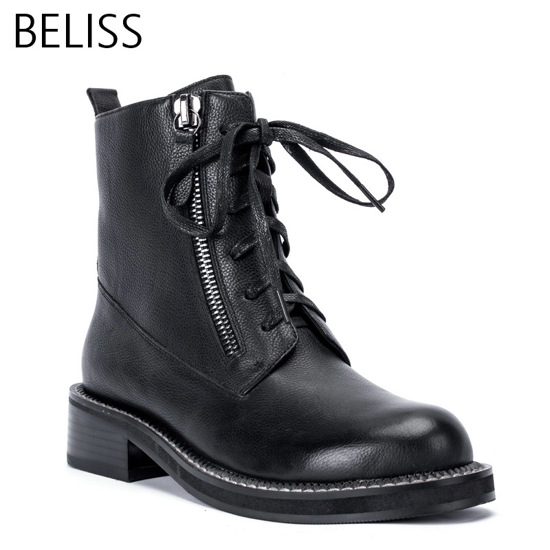 BELISS 2018 fashion ankle boots for women high quality martin boots genuine leather round toe punk spring autumn zipper B18 high quality full genuine leather boots round toe buckle autumn winter riding martin boots punk women ankle boots