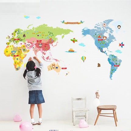 riz carte du monde grand enfant r el mur de dessin anim d coration autocollants papier peint. Black Bedroom Furniture Sets. Home Design Ideas