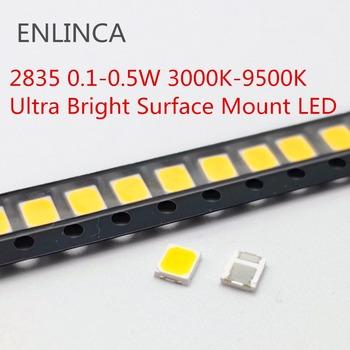 100 sztuk 0 1 W-0 5 W led smd 2835 chipy 1 2W 0 2W 3000K 9000K 3V koraliki światło biała powierzchnia góra PCB emitowanie światła lampa diodowa tanie i dobre opinie ENLINCA Nowy 3528 0 1-0 5W 3000K-9000K 3v-18v Do montażu powierzchniowego