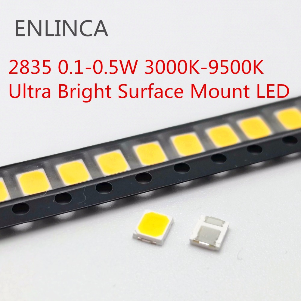100pcs 0.1W - 0.5W <font><b>SMD</b></font> <font><b>LED</b></font> <font><b>2835</b></font> Chips 1/2W 0.2W 3000K 9000K 3V beads light White Surface Mount PCB Light Emitting Diode Lamp image