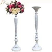 Golden/White Flower Vase Candle Holders Wedding Table Road Lead Event Party Centerpiece Rack Home Decoration 10 PCS/LOT