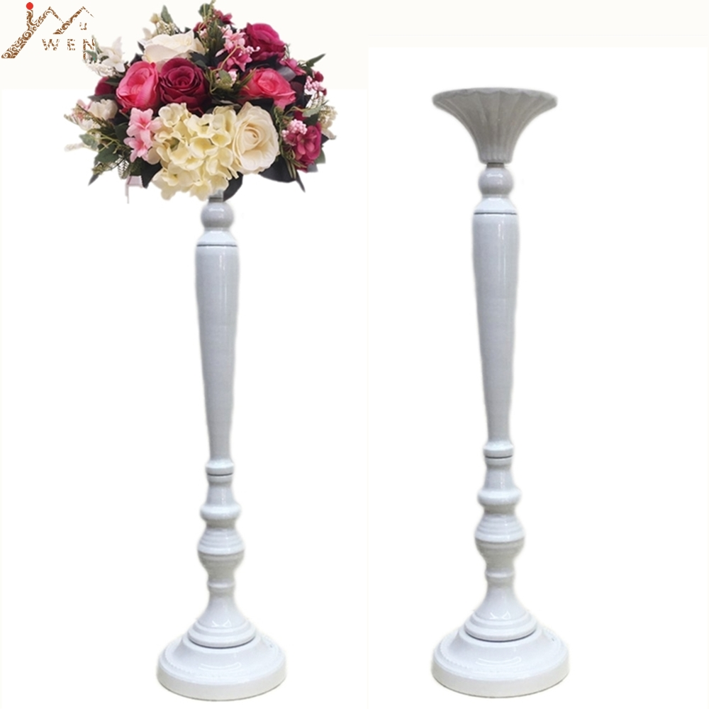 Golden/White Flower Vase Candle Holders Wedding Table Road Lead Event Party Centerpiece Rack Home Decoration 10 PCS/LOT