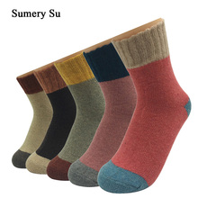 5 Pairs/Lot Thick Wool Socks Women Winter Cashmere Cotton Warm Socks Charming Ladies Girls Meias