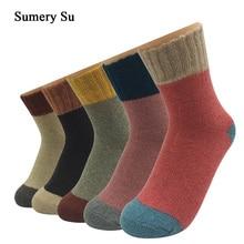 5 çift/grup kalın yün çorap kadın kış kaşmir pamuk sıcak tutan çoraplar büyüleyici bayanlar kızlar Meias