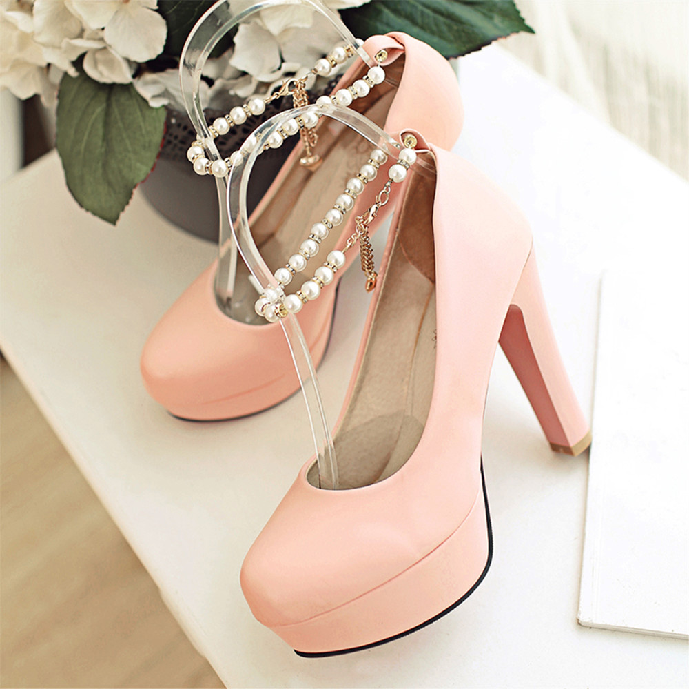 ФОТО 2016 new sumwer fashion classic solid beading round-toe women pumps high heel shoes comfortable and breathess women shoes ss46