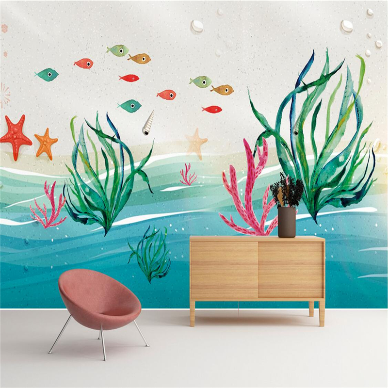 Custom 3d Wall Paper Abstract Underwater World Wallpaper Modern Embossed Non-Woven TV Background Wall Mural Wallpaper Thicken tree pattern wallpaper modern 3d abstract bedroom sofa tv background wall home decoration non woven embossed woods wall paper